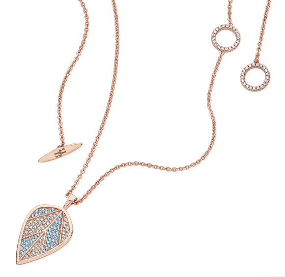 Long Rose Gold Blue Leaf Pendant