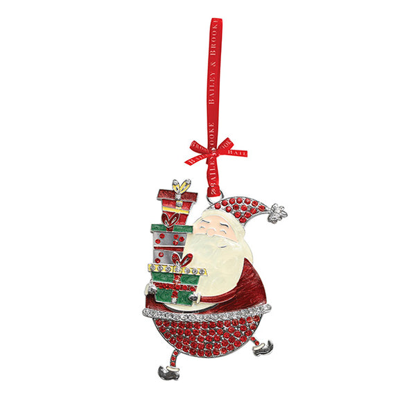 Sparkle Santa Holding Gifts Decoration