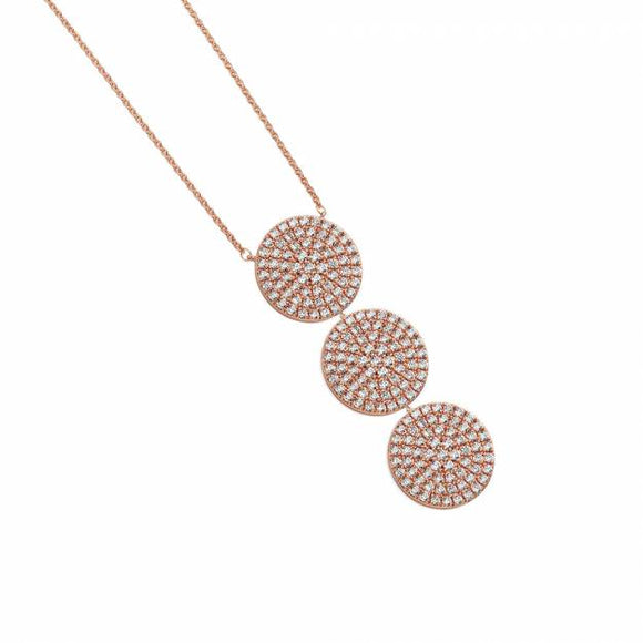 Large Necklace Three Circle Cz Drop Rose Gold