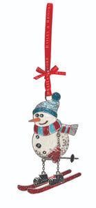 Sparkle Snowman on Skis Decoration