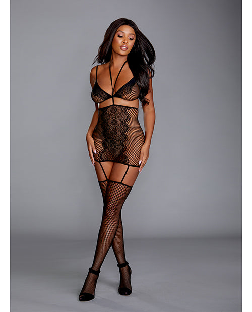 Fishnet & Lace 2 pc Garter Dress