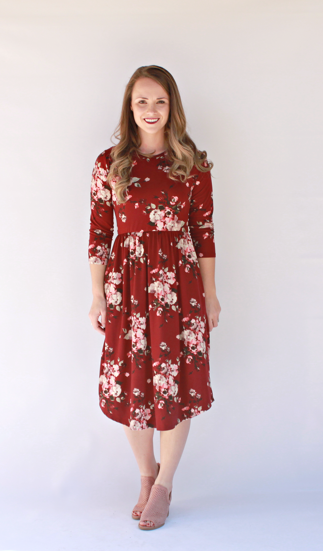 Fall Flowers Dress - Burgundy