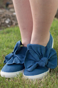 Denim Bow Knot Sneakers
