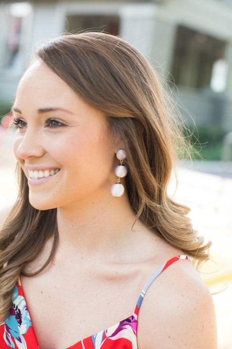 Ball Drop Earrings - White