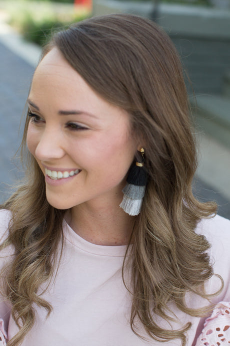 Black & White Tassel Earrings