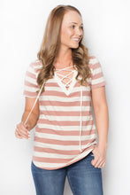 Lace Up Striped Tee