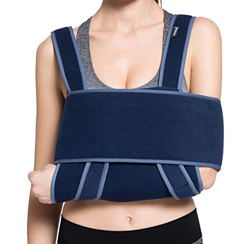 Velpeau Arm Sling Shoulder Immobilizer - Can Be Used During Sleep - Rotator Cuff Support Brace - Adjustable Medical Sling for Broken & Fractured Bones, Dislocation, Sprains, Strains & Tears (Medium)