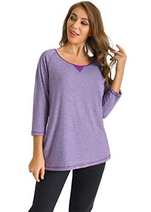Latuza Women's Plus Size 3/4 Sleeves Top Marled Raglan T-Shirt 3X Purple