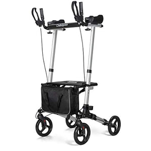 OasisSpace Lightweight Upright Walker- Stand up Rollator Walker with Forearm Support for Senior (Silver)