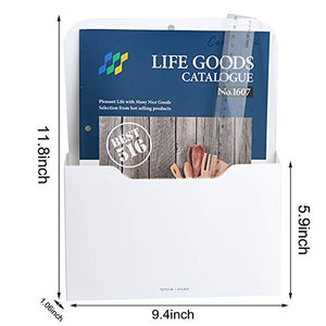 2 Pack Magnetic File Holder - Paper Holder, Pocket Organizer,Hanging Wall File Organizer Office Supplies Storage, Magazine Mail Organizer Case for Notebooks,Planners,Letter (2 Pack)