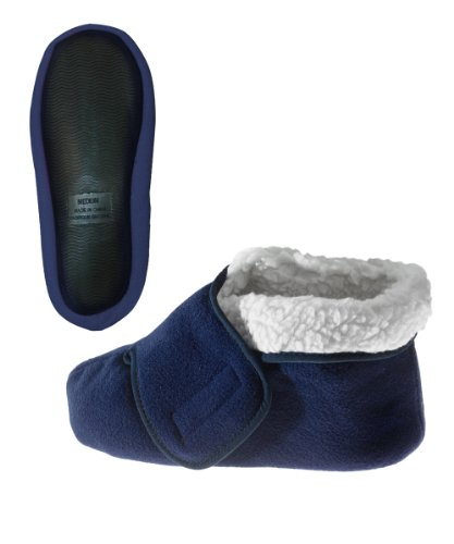 Silvert's Adaptive Clothing & Footwear Womens/Mens Slip Resistant Bootie Slipper with Adjustable - Navy MED