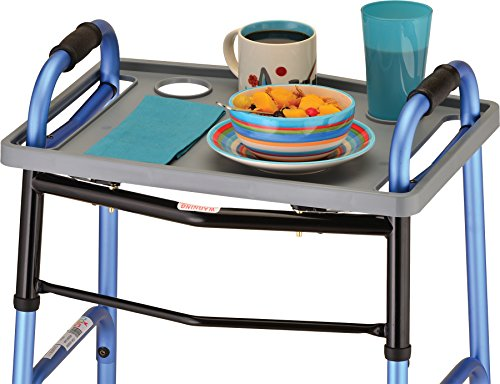 NOVA Walker Tray, Food Tray with 2 Cup Holders for Folding Walker, Fits on Most Folding Walkers