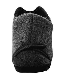 Silvert's Adaptive Clothing & Footwear Mens Extra Extra Wide Slippers - Swollen Feet - Adjustable Closure - Black 12