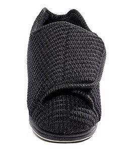Silvert's Adaptive Clothing & Footwear Womens Extra Extra Wide Slippers - Swollen Feet - Adjustable Closure - Black 7