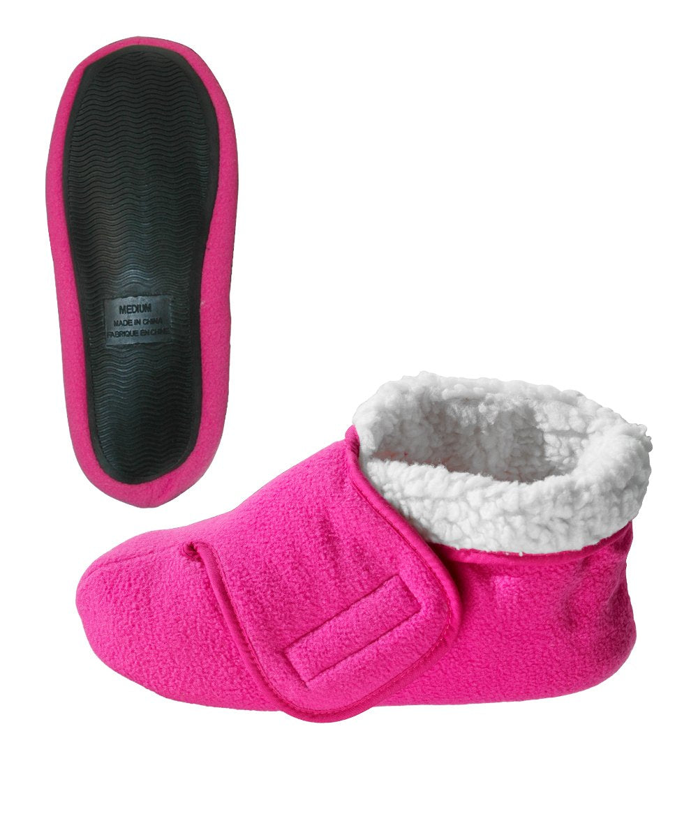 Silvert's Adaptive Clothing & Footwear Womens/Mens Slip Resistant Bootie Slipper with Adjustable - Fuschia SMA