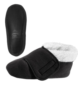 Silvert's Adaptive Clothing & Footwear Womens/Mens Slip Resistant Bootie Slipper with Adjustable - Black XL