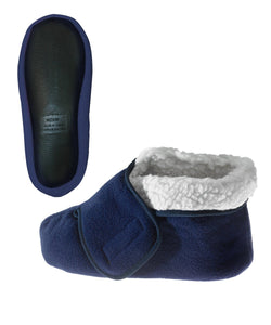 Silvert's Adaptive Clothing & Footwear Womens/Mens Slip Resistant Bootie Slipper with Adjustable - Navy XL
