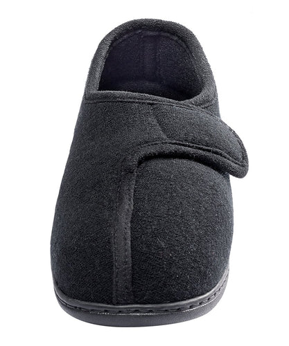 Silvert's Adaptive Clothing & Footwear Adjustable Easy Touch Closure Slipper - Black MED