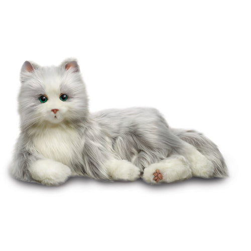 Ageless Innovation | Joy For All Companion Pets | Silver Cat with White Mitts | Lifelike & Realistic | Comfort, Joy & Companionship