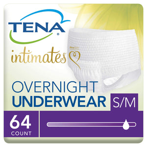 Tena Intimates Incontinence Underwear For Women, Overnight Lie Down Protection, S/M, 64 Count