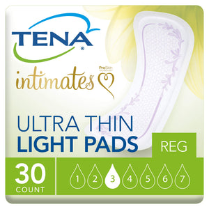 TENA Intimates  Ultra Thin Light Pads Regular 30 Count (Pack of 3)