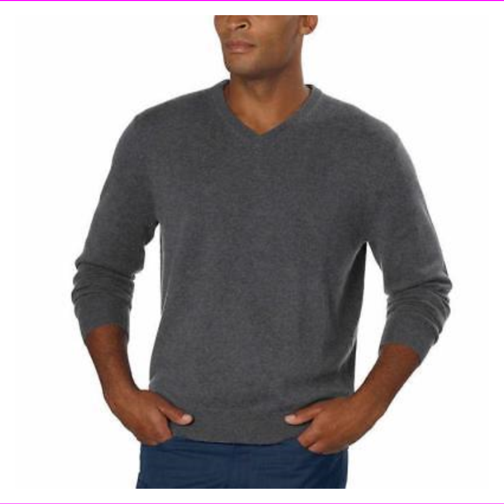 Belford Mens Sweater Cashmere V-Neck Classic Fit Long Sleeve
