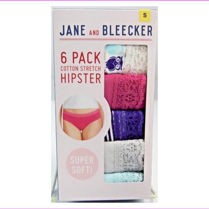 Jane and Bleecker Women's Cotton Stretch Hipster Panties 6pk