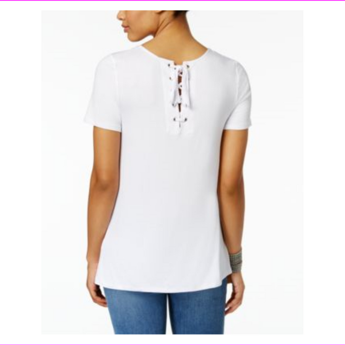 G.H. Bass & Co. Women's Short Sleeve Lace-Up Back Basic Tee