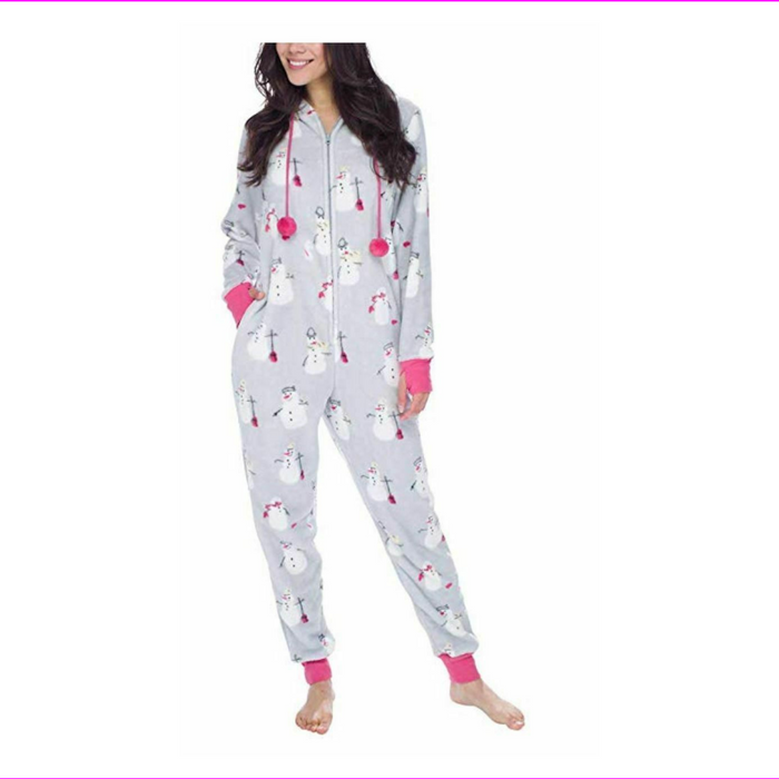 Munki munki Ladies Hooded Fleece  One-Piece Pajamas