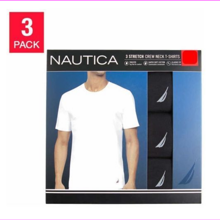 Nautica Men's 3-Pack Stretch Crew Neck T-Shirts Black M