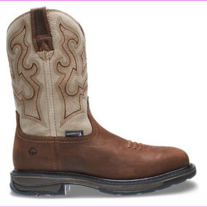 "Wolverine Men Lariat Waterproof Square-Toe Wellington 10"" Steel-Toe Boot Brown/Sand"