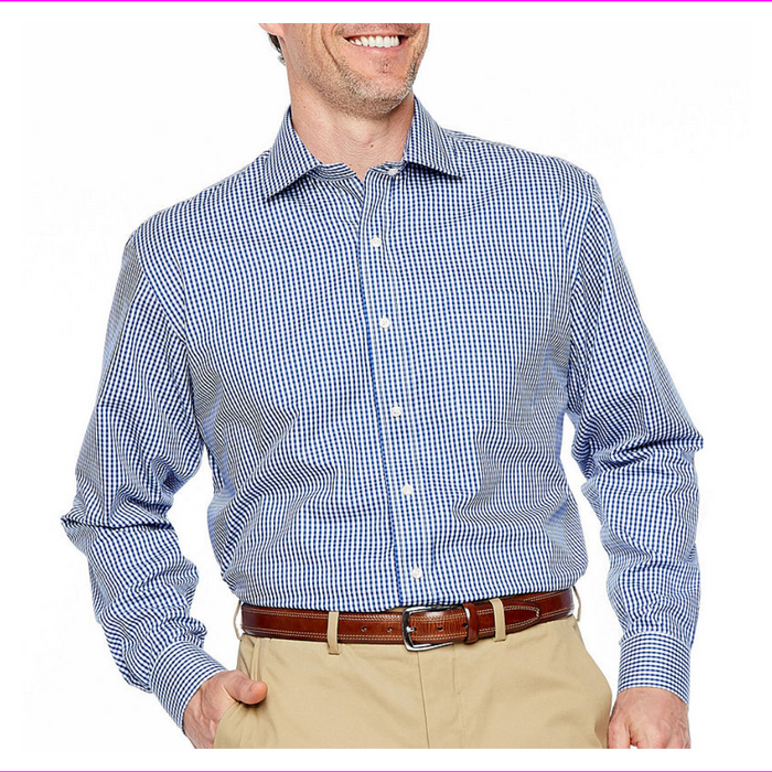 Magnaclick Long Sleeve Checked Button-Front Shirt