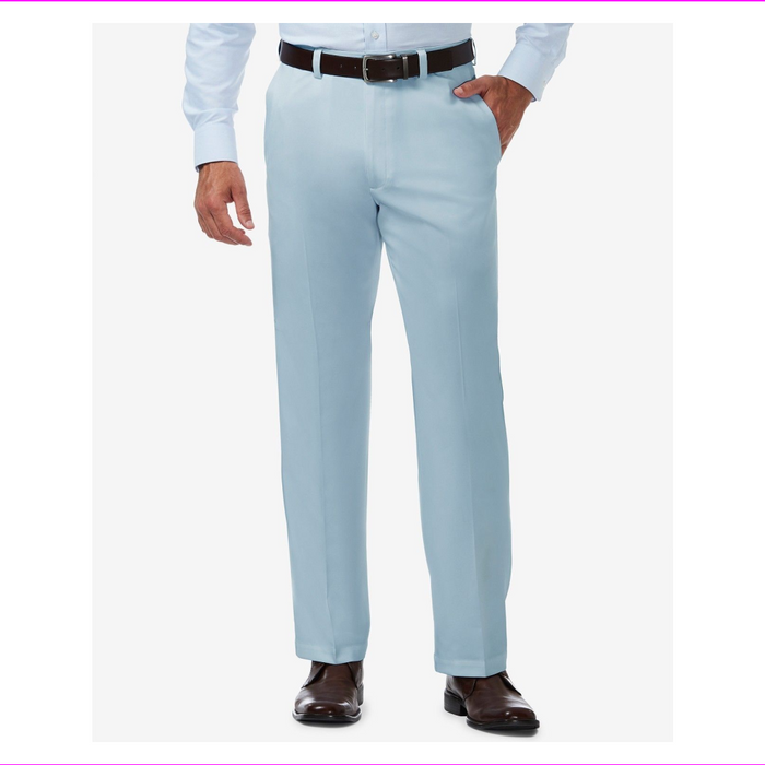 Haggar Men's In Motion Performance Straight Fit Stretch Pants 36W-30L Light Blue