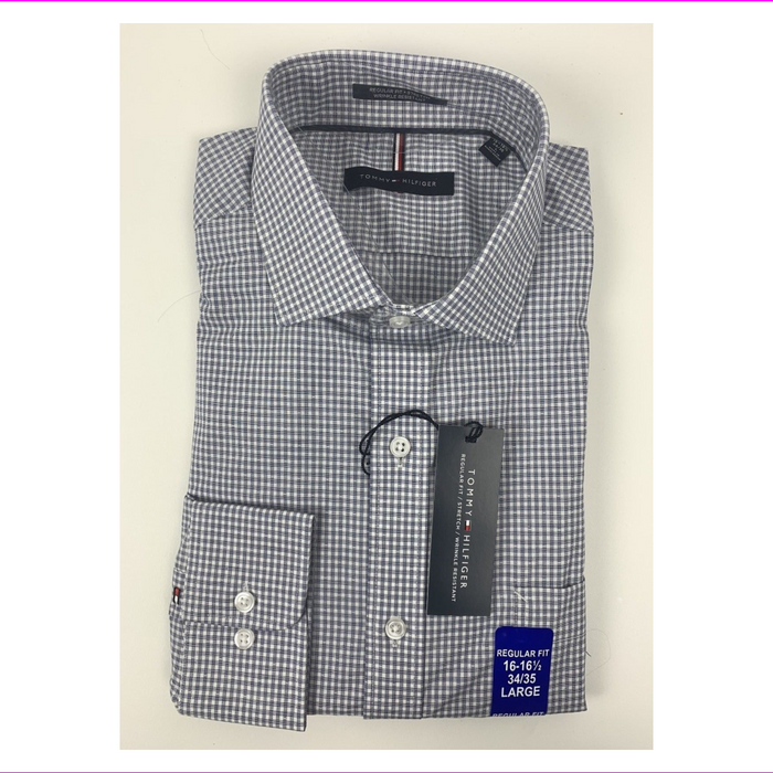 Tommy Hilfiger Men's Non Iron Regular Dress Shirt Blue/Gray 16-16.5 34/35