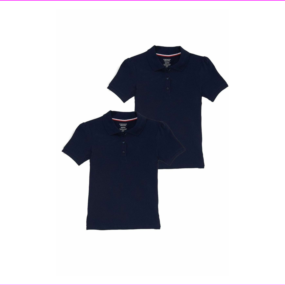 French Toast Girls Short Sleeve Shirt 2 Pack Polo's Navy S (6/6X)
