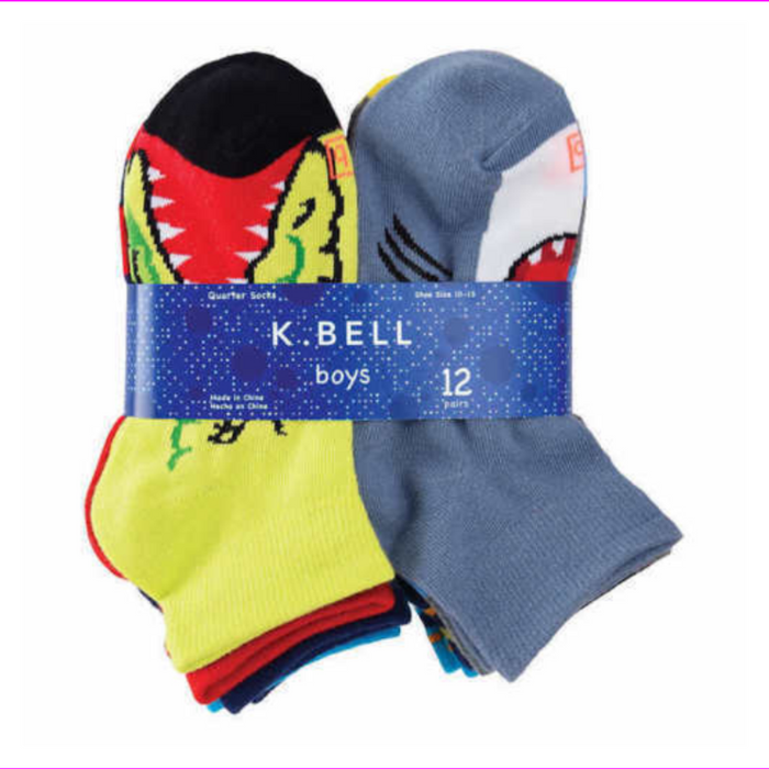 K. Bell Girl's Youth Cut Ankle Socks 12 Pairs