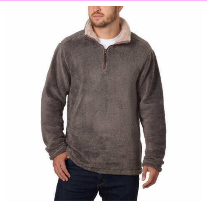 Trinity Men's 1/4 Zip Faux Fur Plush Pullover