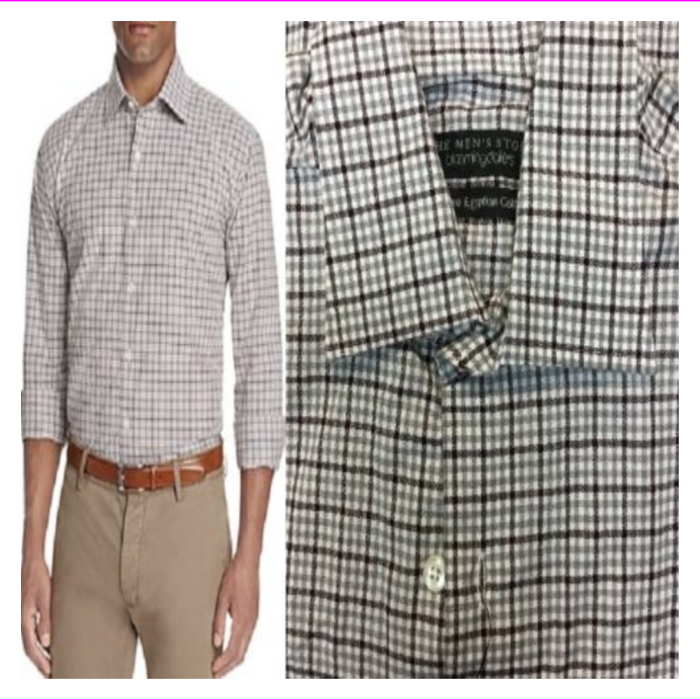 Bloomingdales The Mens Store Plaid Classic Button Down