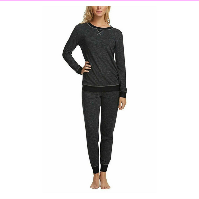 Felina ladie's 2 Piece V-Notch Crew Neck & Jogger Pajama Set