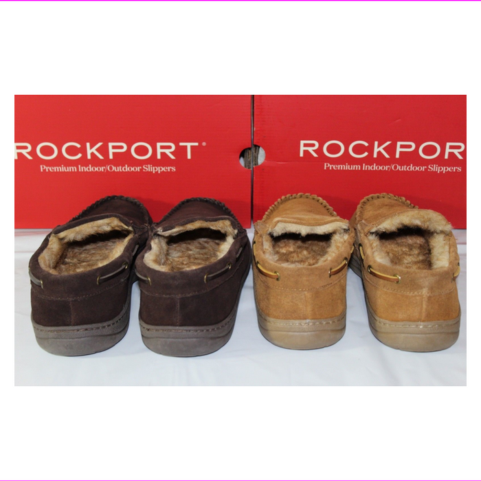 ROCKPORT SUEDE MOCCASIN INDOOR/OUTDOOR MEN'S SLIPPERS,71RQ670025