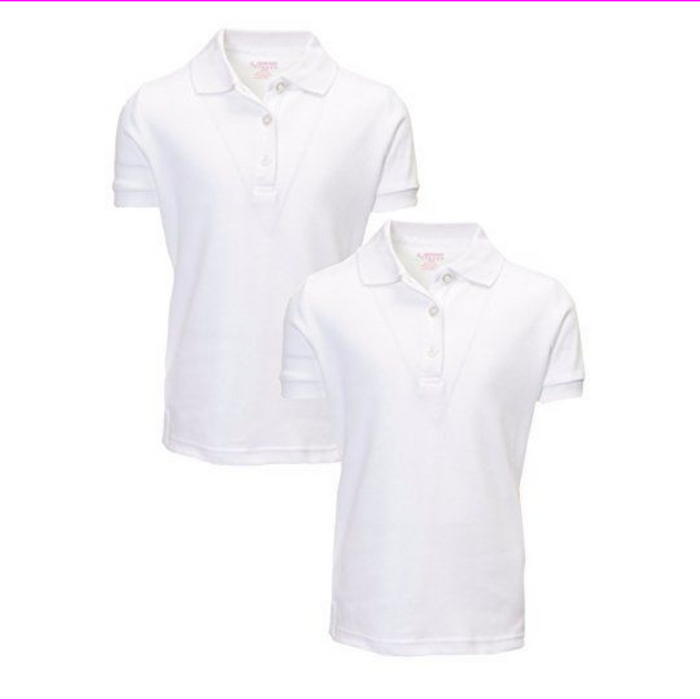French Toast Girls Short Sleeve Shirt 2 Pack Polo's White M (7/8)