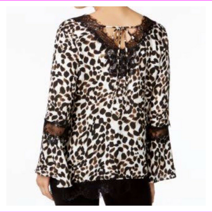 NY COLLECTION LACE-TRIM BELL-SLEEVE TOP ANIMAL PRINT
