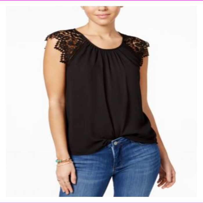 Miss Chievous Junior's Crochet-Sleeve Pleated Neck Top