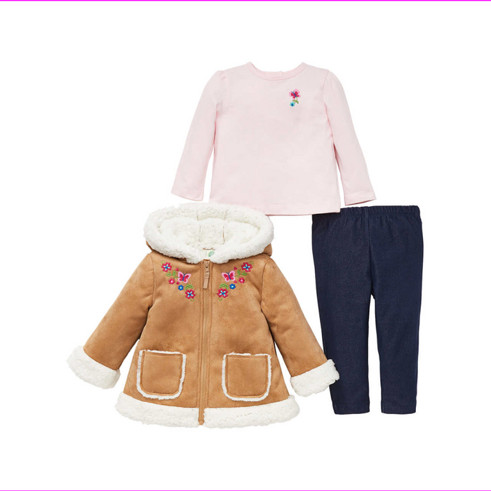 Little Me Girls 3-Piece Jacket, Top, Pant Outfit Set Tan 3T