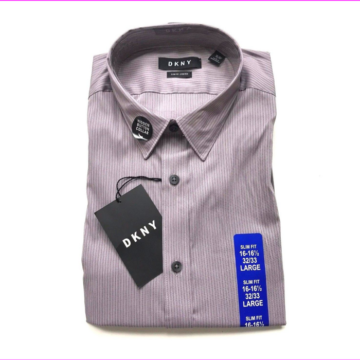 DKNY Men's Slim Fit Button Front Stretch Shirt