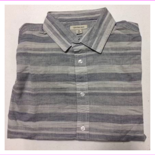 Calvin Klein Jeans Men's Chambray Striped Short Sleeve Shirt