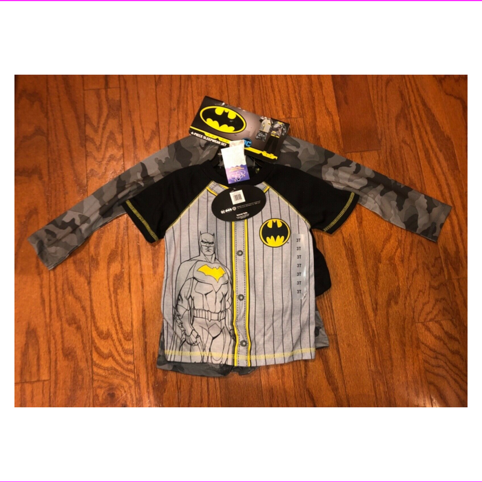 Batman Boys' 4-piece Pajama Set Long/Short Sleeve Shirts Pants