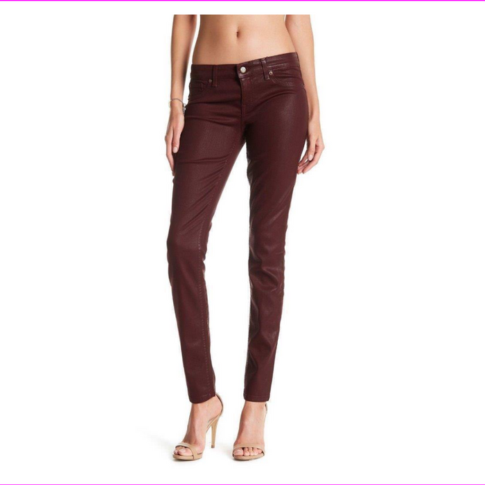 Level 99 Women's Mid Rise Coated Skinny Jeans