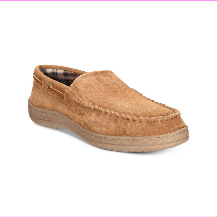 Micro Suede Moccasin Slippers Men Pile Lined Indoor Outdoor Slip On Shoes