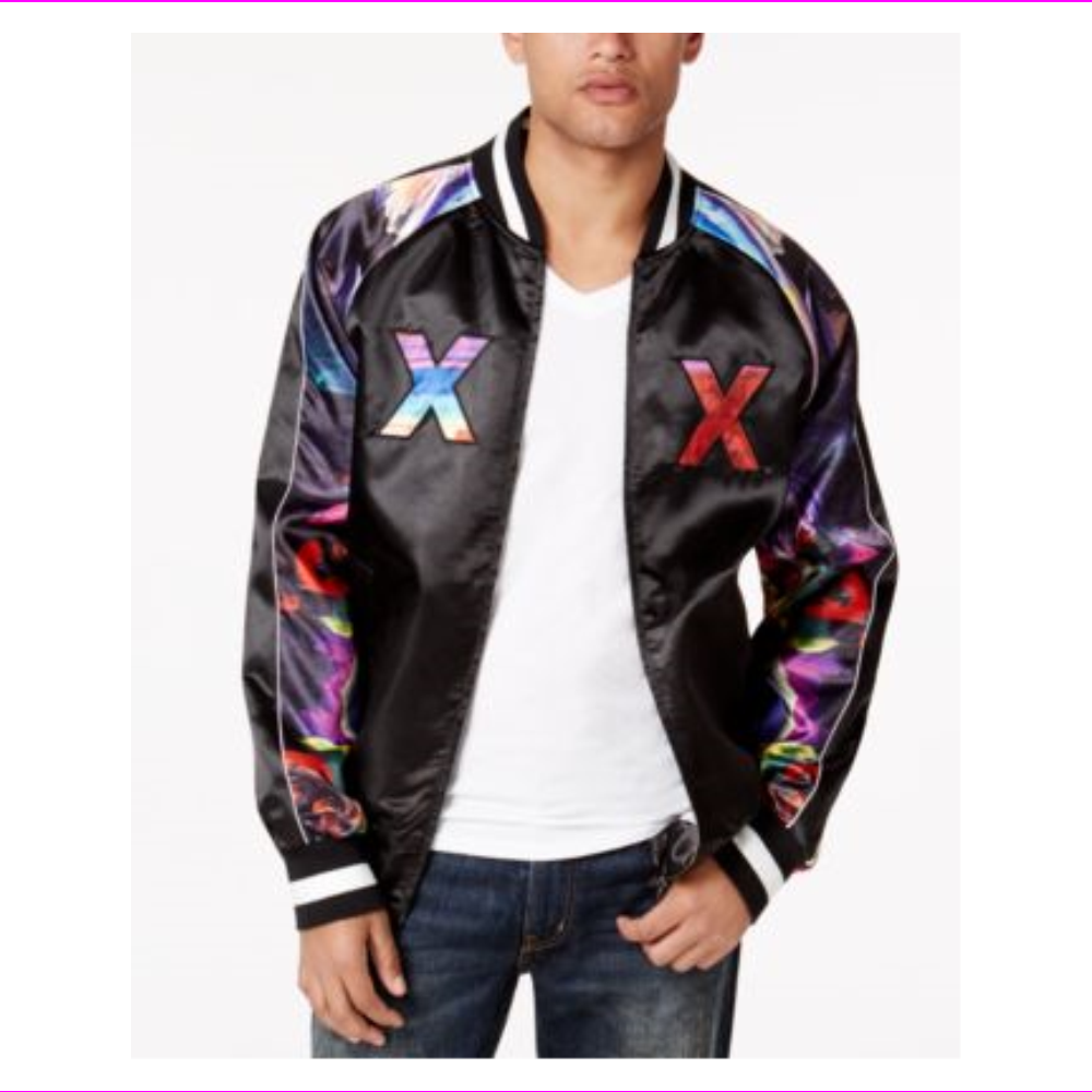 Hypnotize Men's Rainbow Satin Bomber Jacket